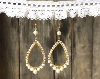 Brass + Wrapped Freshwater Pearl Drop Earrings
