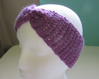 Purple Wool Headband, Head Wrap, Ear Warmer, Warm, Hair, Cover, Scarf, Chunky, Thick, Hair band, Womans, Bohemian, Boho, Handmade, Crochet