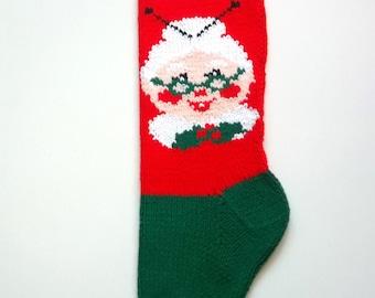 Mrs. Santa Claus Hand-knit Christmas Stocking
