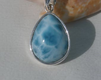 Marbled Larimar Stone Pendant In Sterling Silver 925