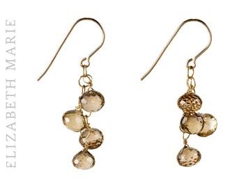 Champagne Quartz Teardrop Cluster Earrings on 14K Gold Filled French Earwire