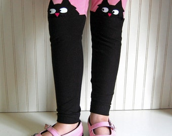 Cat Leggings. Kitty Leggings. Girls Leggings. Toddler Leggings. Black Cat Leggings. Cat Lover Gift. Cat Clothing. Girls Cat Pants