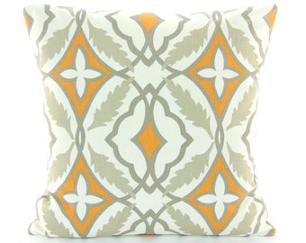 Orange Gray Throw Pillows Cushion COVERS Geometric Couch Bed Pillow ALL SIZES Nursery Pillow Sofa Bedding Cottage Decor Orange Tan Pillow