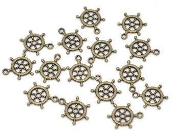 5 Antiqued Bronze Ships Wheel Charms