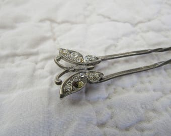 Vintage Hairpin with a butterfly and Rhinestones