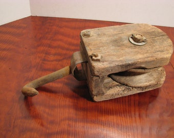 Antique Wood Pulley - Primitive Barn Pulley with Iron Hook