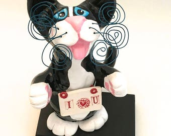Tuxedo Cat Sculpture Black and White Kitty Polymer Clay Handmade Sculpture Sylvia Made to Order - I Heart You CTP00017