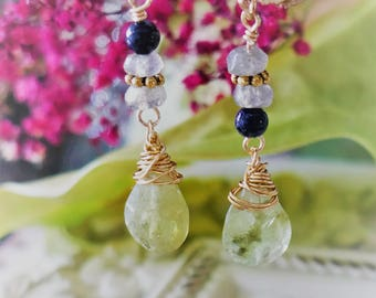 Glossuralite garnet, labradorite gemstones earrings