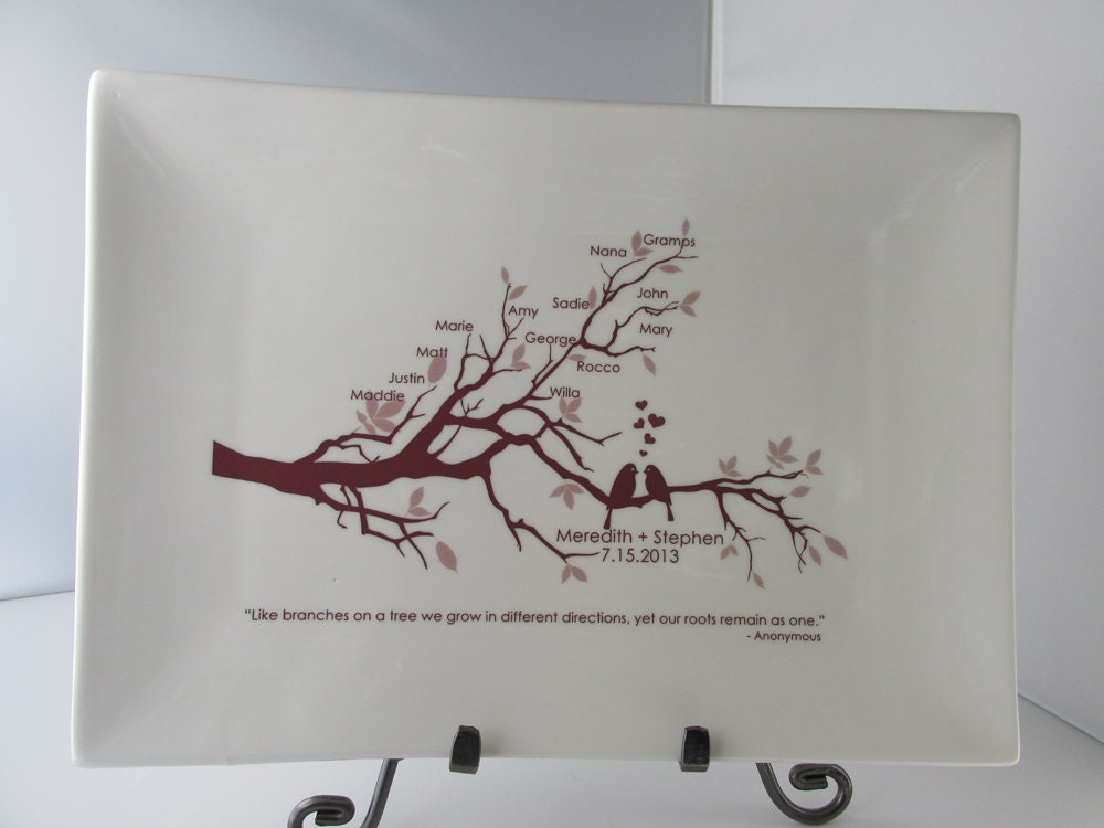 Wedding Gifts For Bride And Groom From Parents: Wedding Family Tree Platter With LovebirdsBride And Groom