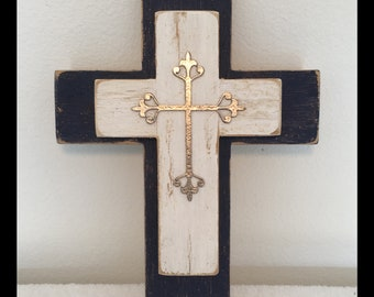Double Distressed Cross with Silver Papier'  mache' embellishment
