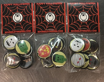 "Halloween Creatures 1"" pin or magnet 7pc set"