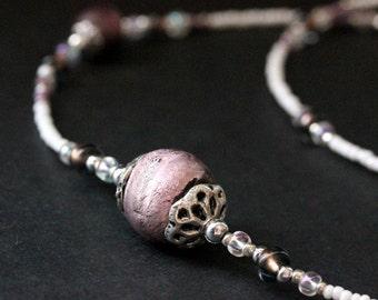 Lavender Eyeglass Necklace. Nurses Lanyard. Purple Glasses Lanyard. White ID Lanyard. Losing My Marbles Beaded Lanyard. Handmade Lanyard.