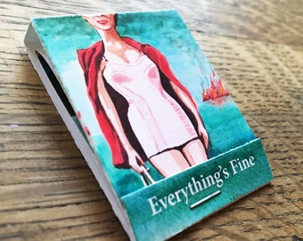 """Ironic flaming Everything's Fine 1.5x2"""" stocking stuffer Pocket Art Museum Set of 3 mini art print collections in matchbook sized covers"""