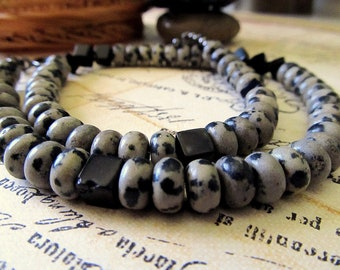 Dalmatian Jasper/Black Onyx Necklace--Tailored, Simple Design--Perfect For Men or Women