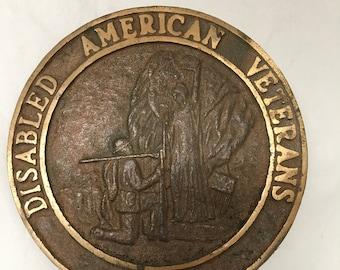 A WWI-1930's bronze marker DAV Military