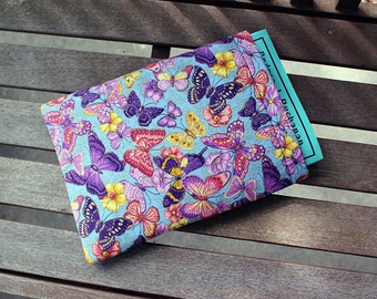 Butterfly Blue Purple and Pink Large Fully Lined Foam 9x12 inch Padded Book Sleeve Tablet Case