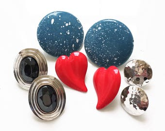 80s 90s vintage pierced earring destash in blue, red, silver, and black//round oval hearts hammered metal--mixed lot of 4 pairs