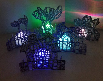 Haunted Halloween Lace Color Changing Tealight LED Scene