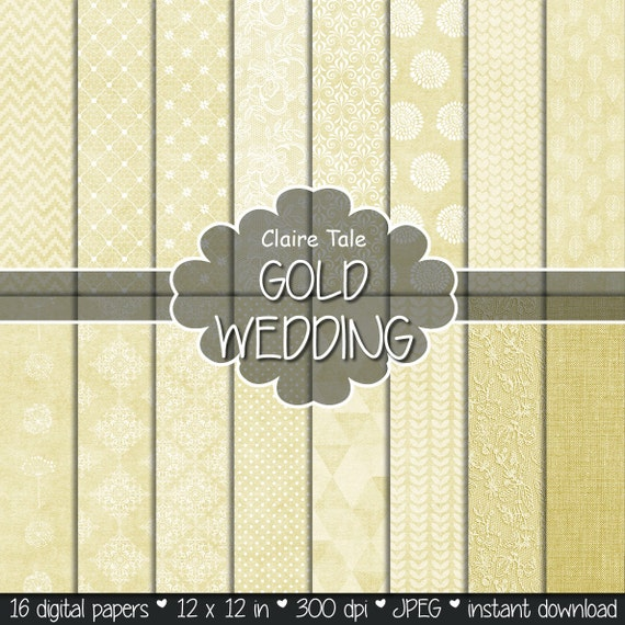 "Gold digital paper: ""GOLD WEDDING"" with gold damask, lace, quatrefoil, flowers, hearts, polka dots, triangles, stripes, linen"