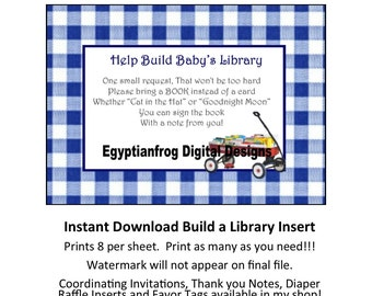 INSTANT DOWNLOAD - Build a Library Invitation Insert - You print as many copies as you need!