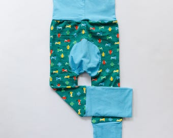 Bugs and Light Blue/Kiwi Baby Big Butt Pants - Grow with me pants - Cloth diaper friendly - Toddler - Gift