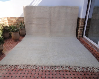 LARGE beni ourain uni solid authentic rug 100% WOOL Moroccan berber