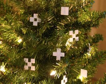 Minecraft Snowflake Ornament, 8-Bit Retro Christmas Gift Minimalist Pixel Handmade Ornament, Best Custom Sizes Available