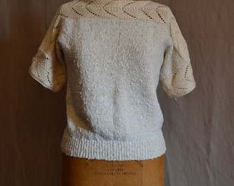 Nubby vintage cream and white stretchy sweater