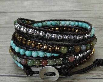 leather bead bracelet boho leather wrap bracelet hematite turquoise Indian agate bead wrap bohemian bracelet SL-0433
