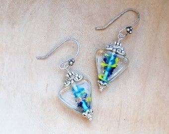 Geometric Triangle Earrings Lampwork and Silver plated metal