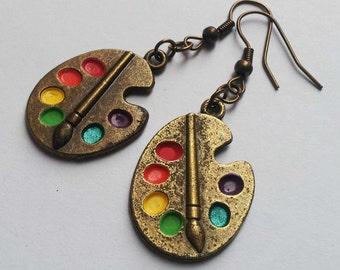 Palette Earrings , Bronze Earrings , Bronze Palette Earrings , Artist Earrings , Artist Gift , Handmade Jewellery , Boho , Handmade Gift