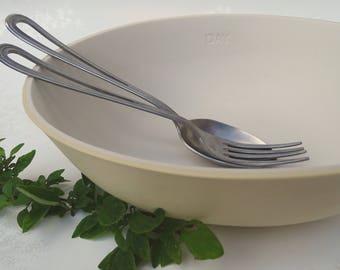 Oval Yellow & White Porcelain Serving Bowl. Large Unglazed Ceramic Fruit Bowl. Minimalist Design. FebbieDay Ceramics.