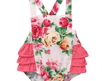 Free Shipping to US and PR,Floral romper,Baby romper,Baby outfit,White floral Romper,Baby clothing,baby