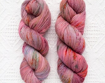 """Hand Dyed Yarn, """"Lovecraft"""", Fingering Weight, Sock Yarn, Speckled, Hand Painted, Pink, Lilac, Coral, Valentines, Red, SW Merino, Wool"""