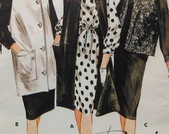 Vintage Dress and Sleeveless Coat Sewing Pattern UNCUT Butterick 2942 Size 14