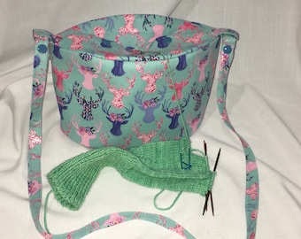 Oval Yarn Owl project bag, perfect for 2 at a time socks