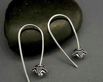 Silver Flower Earrings. Argentium earrings. Petal earrings. Flower petal hoops. Minimalist earrings. Bohemian earrings. Modern silver hoops