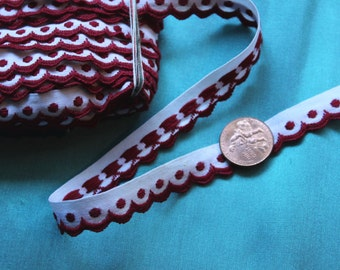 "1.4 yard vintage all cotton ribbon trim woven dots deep red white 1/2"" wide"