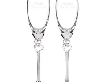Entwined Hearts Wedding Toasting Flutes Set (10011)