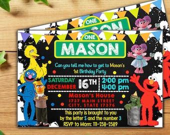 INSTANT DOWNLOAD-Elmo Invitation,Elmo Invitation Girl,Elmo Invitation Boy,Elmo Birthday,Sesame Street Birthday,Sesame Street Pdf Editable