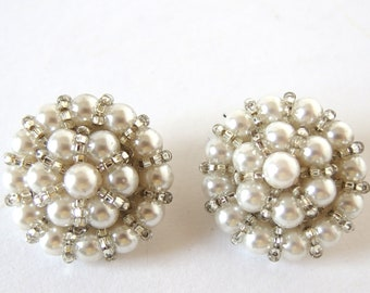 2 Pearl Cluster Buttons, White Pearls with Silver Seed Beads Upcycled / Recycled Buttons
