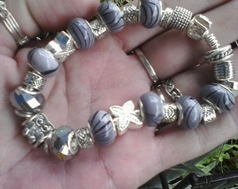 Pagan Wiccan Owl of Diana, Euro style bracelet