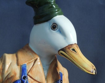 large RONZAN porcelain figurine * duck * cooking * hand painted in Italy * rare * 51 cm
