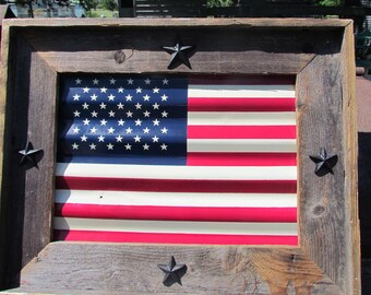 AMERICAN FLAG framed rustic tin flag