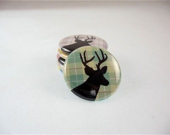 Deer Plaid Button Magnets - 6 one inch fridge magnets