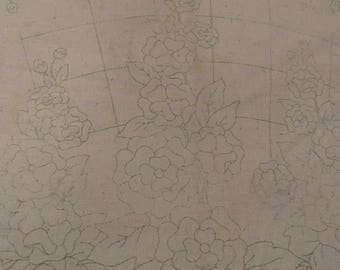 """Vintage Stamped Linen Pillow Cover To Embroider Hollyhocks Trellis Floral Flowers 19.75"""" x 18.5"""" Backing Attached Very Old Estate Grain Sack"""