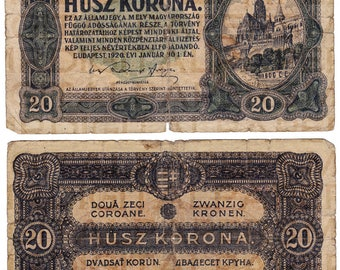 Old Hungary Korona / Currency Money Bill / 12 x 14.5 / Antique Digital Paper / Collage Ephemera / Scrapbooking Supply / Instant Download