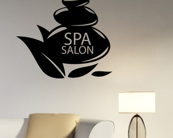 Spa Logo Vinyl Decal Window Sticker Massage Therapy Health Beauty Salon Wall Decorations Bathroom Room Sign Mirror Decor spas3