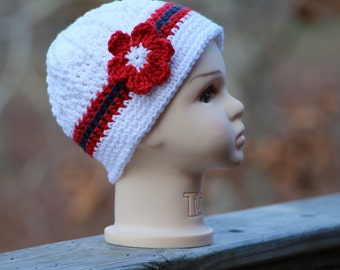 Crochet baby hat, Crochet photo prop,  Patriotic baby Sun hat,  Baby crochet hat, crochet hat, baby girl hat, 4th of July hat
