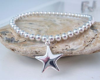 Sterling Silver Star Bracelet, Charm Bracelet, Bridesmaid Wish Bracelet, Stretch Ball Bead Bracelet, Ladies Gift Idea, Personalize, handmade